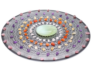 Crystal grid set with 24 pointed tesseract
