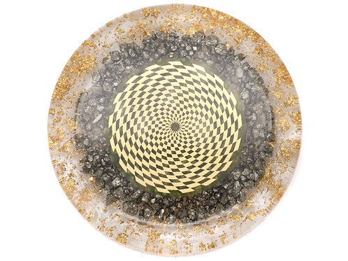 Pyrite orgone disc with scalar wave antenna