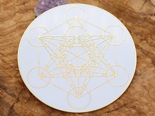 Metatron crystal grid 24k gold plated disc