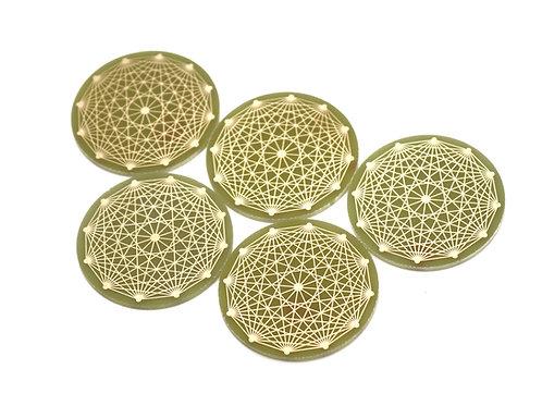 Tesseract sacred geometry radionics disc set of 5