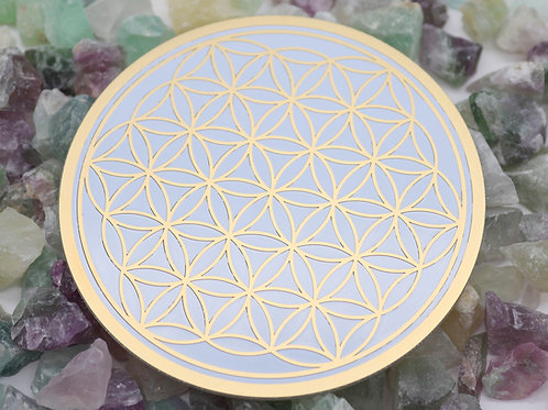 Gold plated flower of life disc