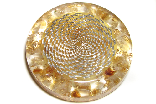 Citrine based orgone energy disc with vortex antenna