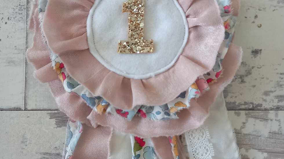 Liberty print rosette birthday badge betsy with gold glitter number