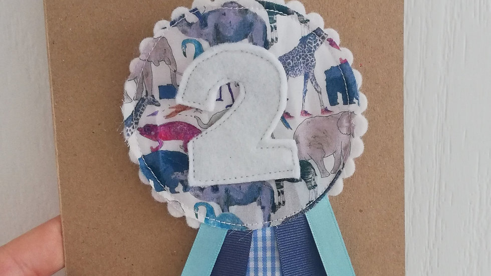 blue liberty print birthday badge