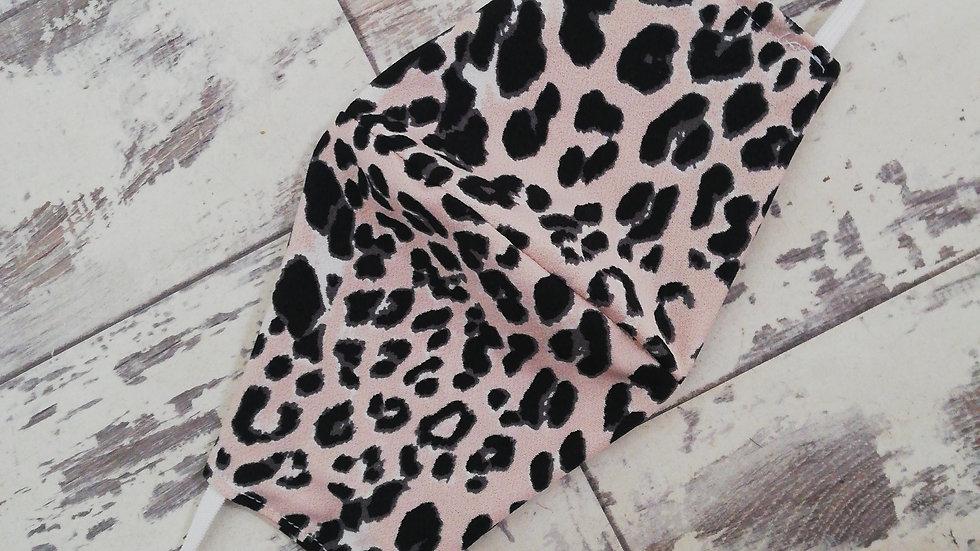 Blush leopard adult mask  Jersey fabric