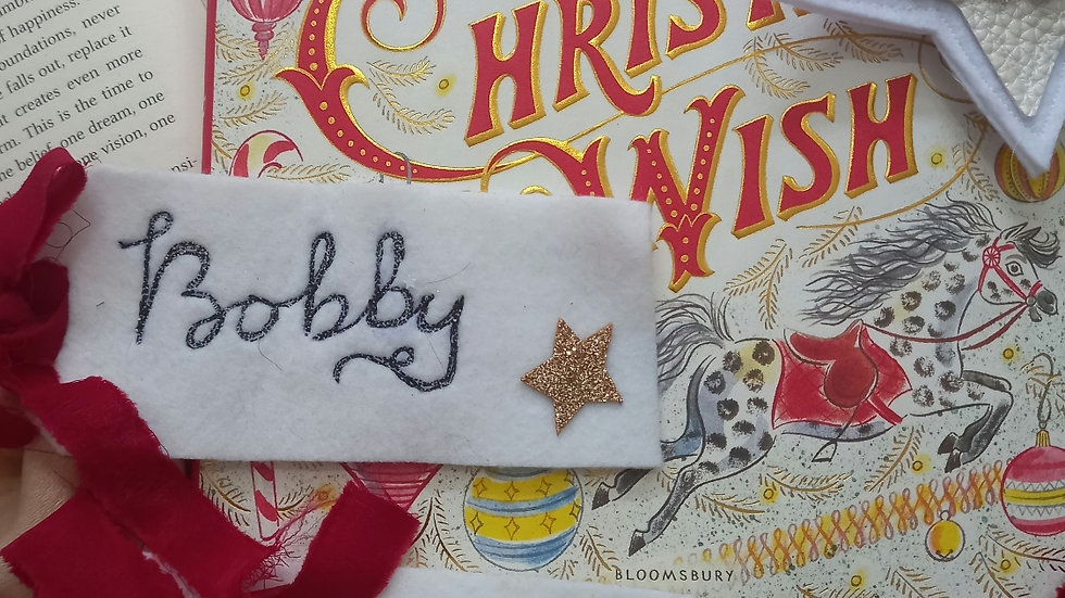 Embroidered place name tag