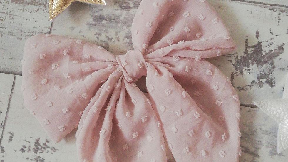 Blush polka dot large bow clip