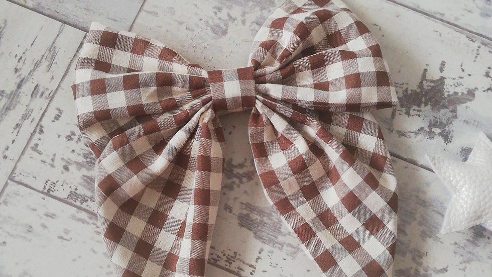 Brown gingham large bow clip