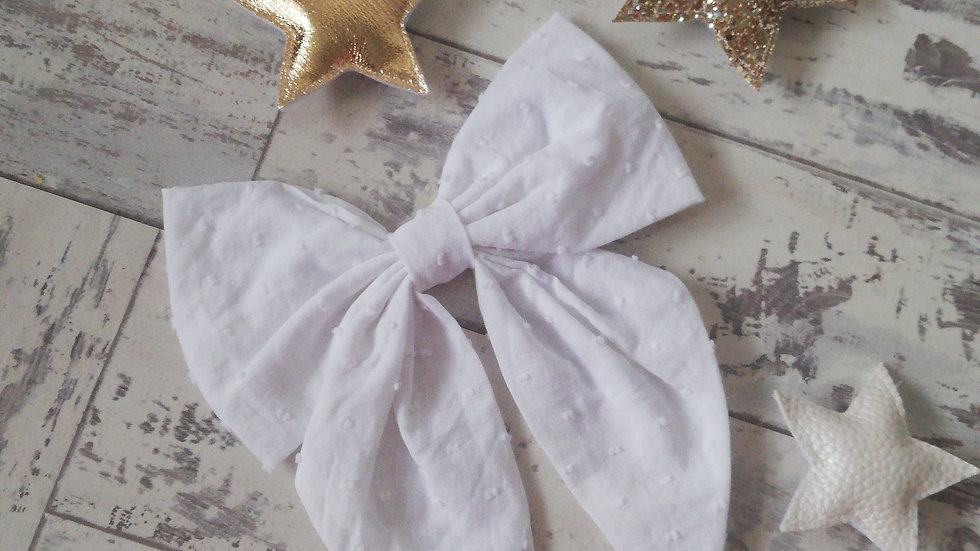 White spot fabric large bow clip