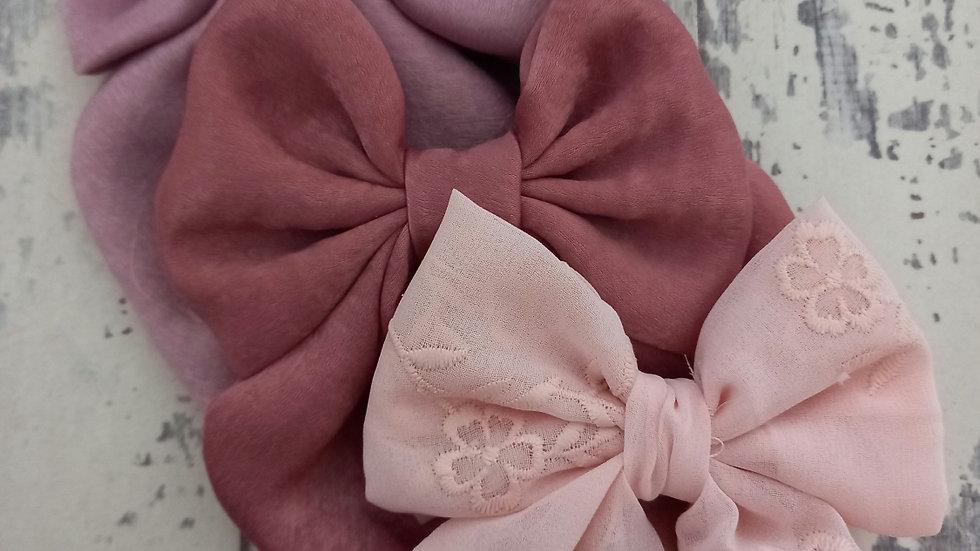 Maxi ,midi and mini sailor bows in mauve ,raspberry or blush embroidered