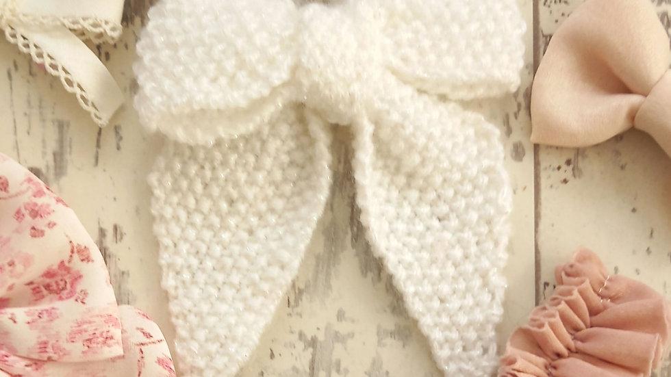White midi bow glitter detail  knitted