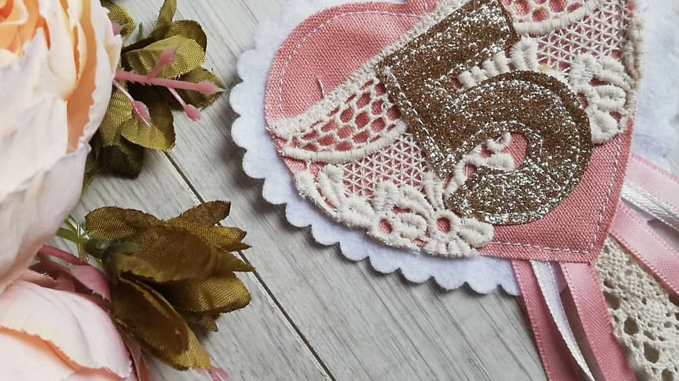 heart lace detailed birthday badge