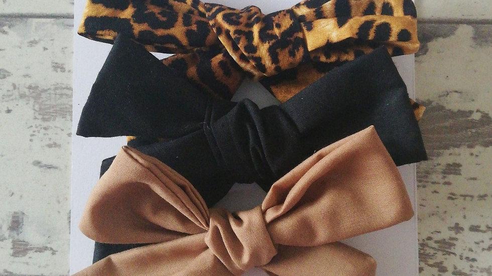 Leopard tie bow set