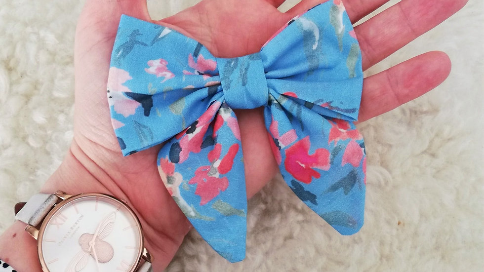 klbdesigns floral print sailor bow