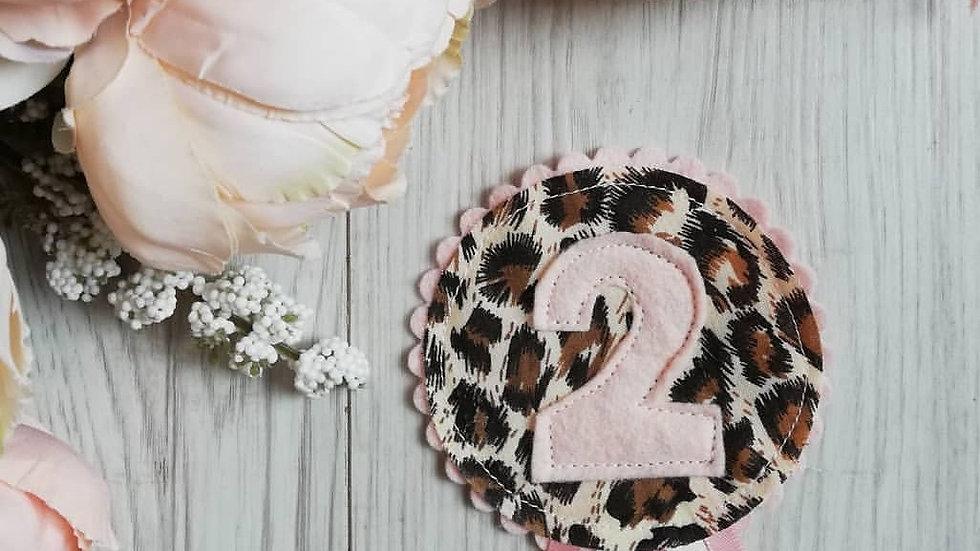 leopard birthday badge