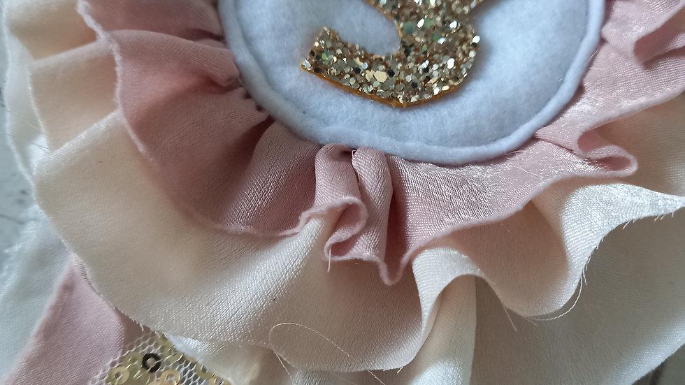 Glitter age rosette badge blush and ivory