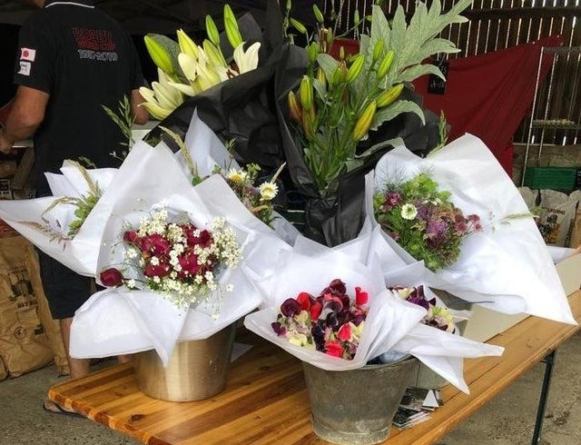 Bouquets of flowers for sale at Farmer's market