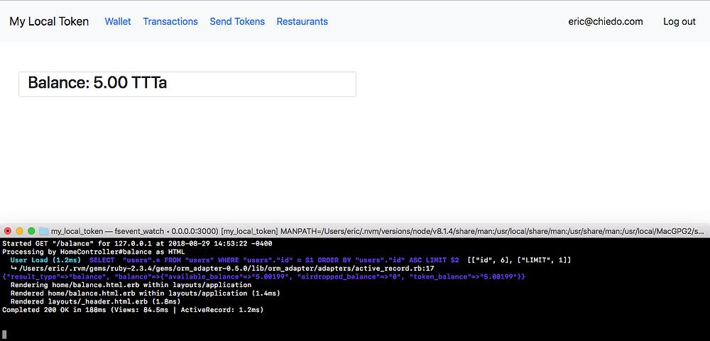 Screen showing user token balance