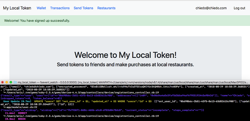 Welcome screen (test was designed to deposit 5 Local Tokens into a new user account upon registration)