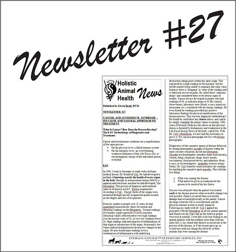 Newsletter 27 - Cancer & Autoimmune Syndrome – It's Cause & A Natural Approach