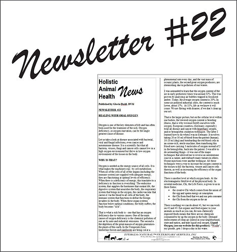 Newsletter 22 - Healing With Oral Oxygen