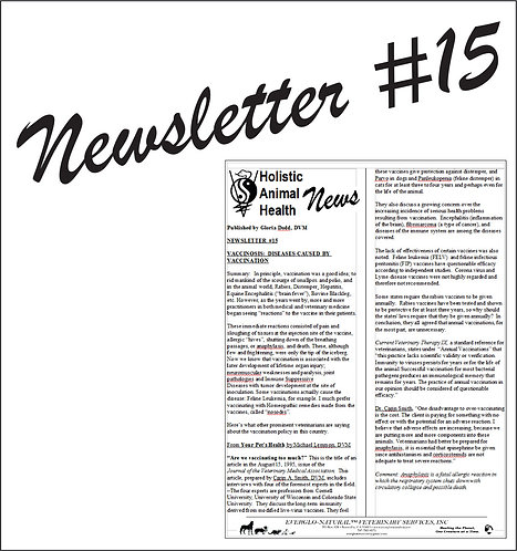 Newsletter 15 - Vaccinosis, Diseases Caused by Vaccination