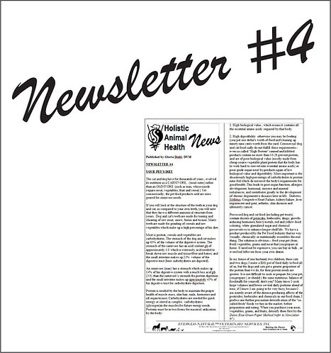 Newsletter 04 - Your Pet's Diet, How to Feed Your Pet Sensibly and Why