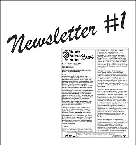 Newsletter 01 - Heavy Metal Contamination of the Food and Water Chain