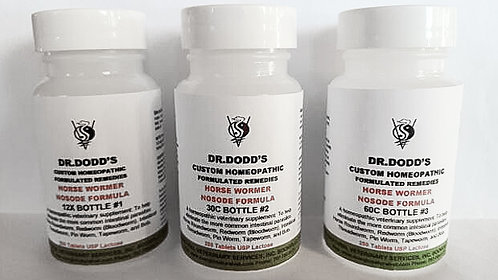 Wormer Nosode Formula for Horses -3 Bottle Set - 12X, 30C, 60C