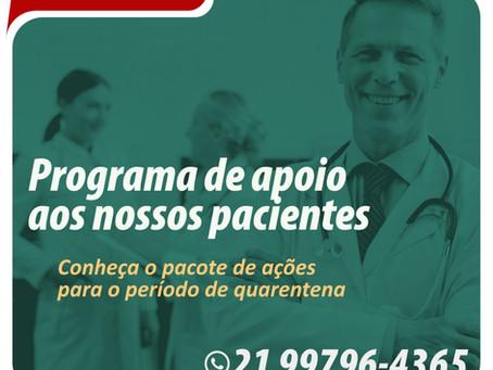 Coronavírus: Programa de apoio ao paciente da Clínica Rio de Janeiro