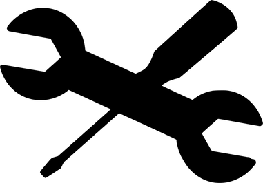 Silhuet af en svensknøgle og en skruetrækker
