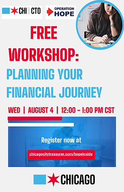 Free Workshop: Planning your Financial Journey: August 4, 2021 from 12pm -1pm.