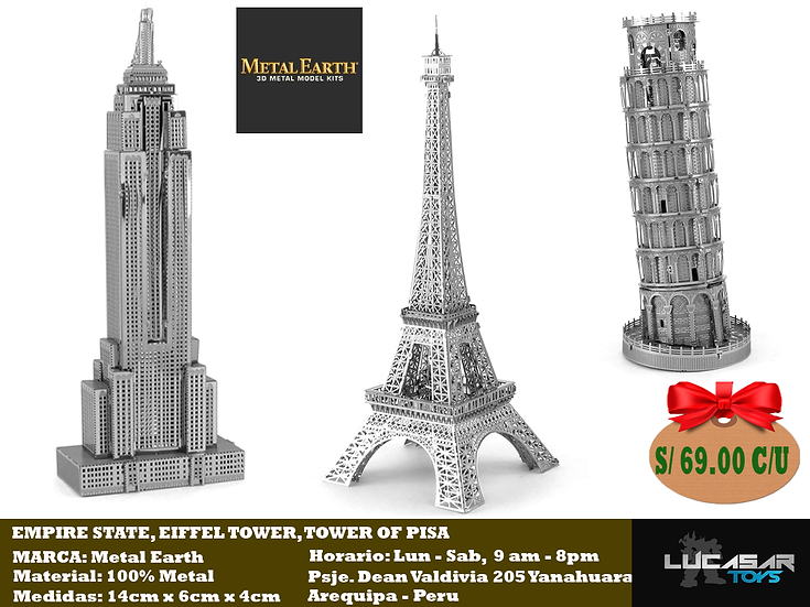 Empire State, Eiffel Tower, Tower of Pisa (cada uno)