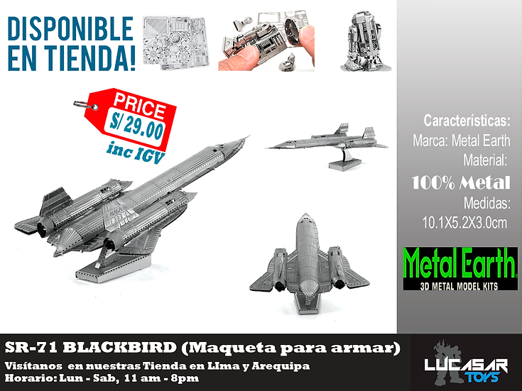SR71 Blackbird Metal Earth