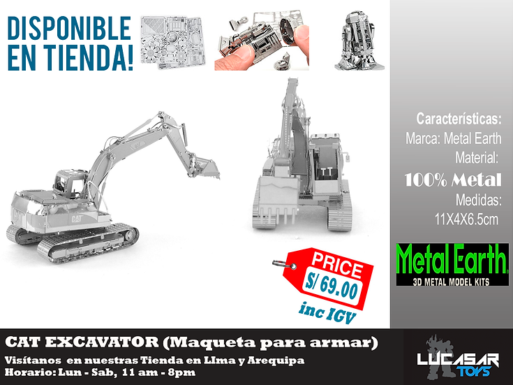 Cat Excavator Metal Earth