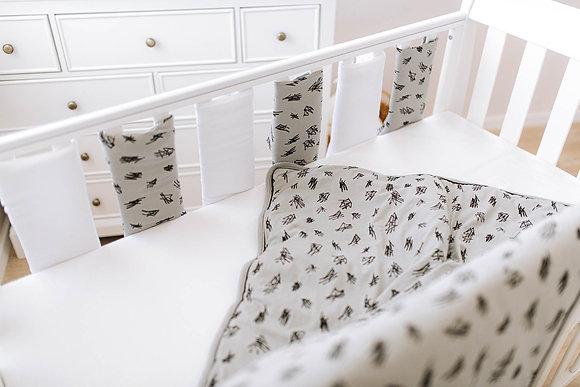 סט מצעים + מגני סורגים למיטת תינוק -אפור מעודן