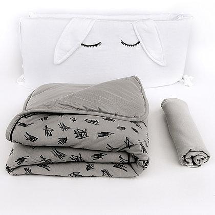 סט מצעים מלא למיטת תינוק - אפור מעודן