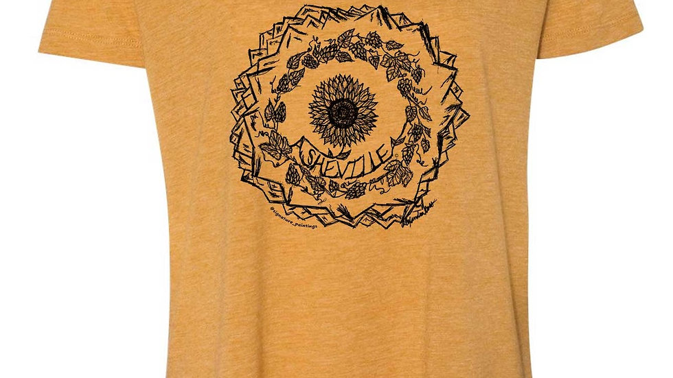 'Asheville Sunflower, hops, and mountains mandala' design shortsleeve