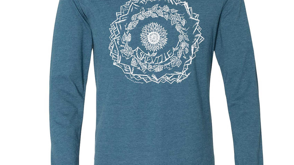 'Asheville Sunflower, hops, and mountains mandala' design longsleeve
