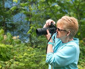 Julie H. Ferguson on assignment.  Photo: © James S. Ferguson 2013