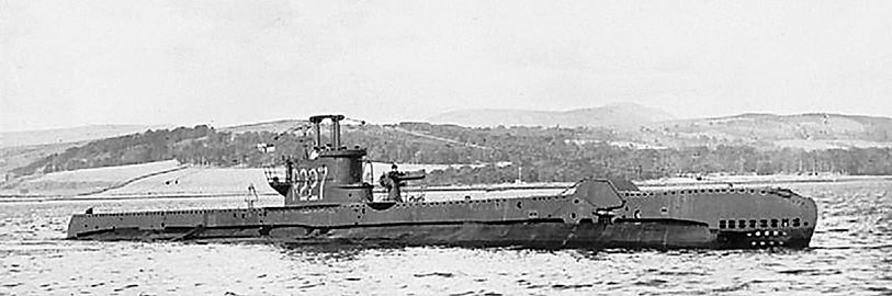 HMS/M Spiteful in the Clyde, 1943; CO LCdr F. Sherwood, RCNVR, DSO and bar. (Wikipedia CC)