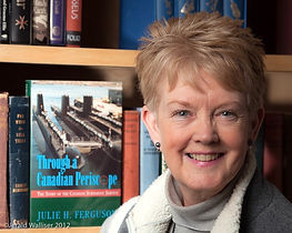 Julie H. Ferguson with her first book, Through a Canadian Periscope.