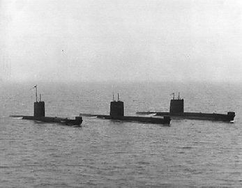 The Great Submarine Race 1980, English Channel. HMCS/M Okanagan (centre) won