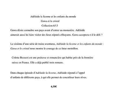 Adelaïde la licorne et les enfants du monde - Gawa et le cristal 6/13