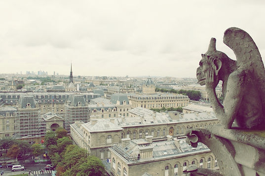 A thoughtful gargoyle in Notre Dame overlooking a view of Paris rooftops. © Kriti Bajaj
