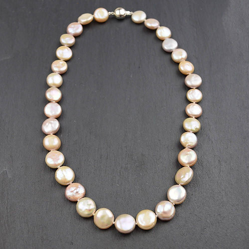 Multicoloured Coin Pearl Necklace on a sterling silver clasp