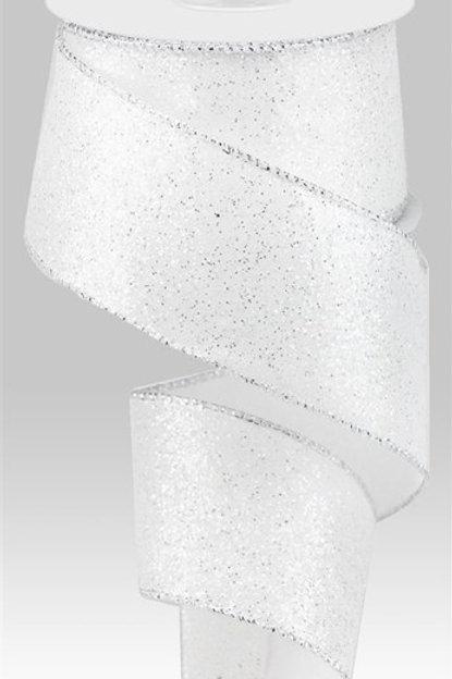 #40 White/Silver Glitter Ribbon