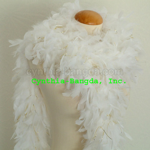 White w/Gold Tinsel Boa 65g