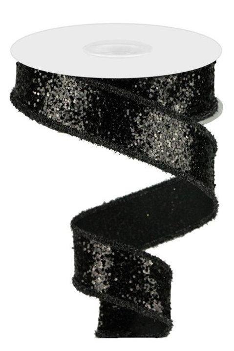 #9 Black Chunky Glitter Ribbon