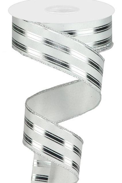 #9 White/Silver Striped Ribbon